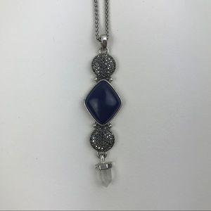 Lucky brand long boho crystal necklace navy blue